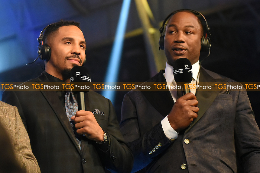 Andre Ward (L) and Lennox Lewis commentate for ITV during a Boxing Show at Olympia on 4th February 2017
