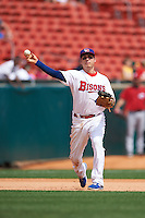 Buffalo Bisons third baseman Andy Burns (41) throws to first during a game against the Columbus Clippers on July 19, 2015 at Coca-Cola Field in Buffalo, New York.  Buffalo defeated Columbus 4-3 in twelve innings.  (Mike Janes/Four Seam Images)