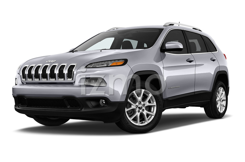 Stock pictures of low aggressive front three quarter view of a 2018 Jeep Cherokee Latitude 5 Door SUV