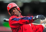 13 April 2009: Washington Nationals' outfielder Lastings Milledge takes a warmup swing prior to taking batting practice before facing the Philadelphia Phillies at the Nats' Home Opener at Nationals Park in Washington, DC. The Nats fell short of their 9th inning rally, losing 9-8, and marking their 7th consecutive loss of the season. Mandatory Credit: Ed Wolfstein Photo