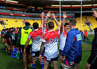 The teams shake hands after the Heartland Championship rugby match between Horowhenua Kapiti and Wairarapa Bush at Westpac Stadium in Wellington, New Zealand on Sunday, 1 October 2017. Photo: Dave Lintott / lintottphoto.co.nz