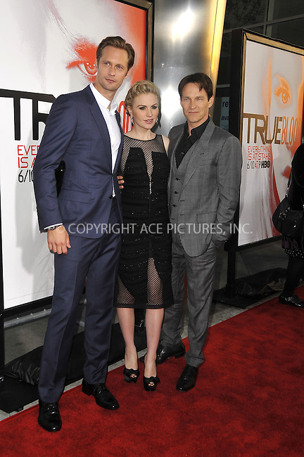 WWW.ACEPIXS.COM . . . . .  ....May 30 2012, LA....Actors (L-R) Alexander Skarsgard, Anna Paquin and Stephen Moyer arriving at HBO's 'True Blood' season 5 premiere at ArcLight Cinemas Cinerama Dome on May 30, 2012 in Hollywood, California.....Please byline: PETER WEST - ACE PICTURES.... *** ***..Ace Pictures, Inc:  ..Philip Vaughan (212) 243-8787 or (646) 769 0430..e-mail: info@acepixs.com..web: http://www.acepixs.com