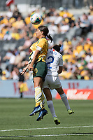 9th November 2019; Bankwest Stadium, Parramatta, New South Wales, Australia; International Womens Friendly Football, Australia versus Chile; Sam Kerr of Australia wins a header from Rocio Soto of Chile - Editorial Use