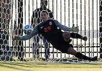 WASHINGTON, DC - NOVEMBER 25, 2012: Alex Bono (25) of Syracuse University is beaten during the penalty kick shootout during an NCAA championship third round match at North Kehoe field, in Georgetown, Washington DC on November 25. Georgetown won 2-1 after overtime and penalty kicks.