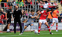 Lincoln City's Jack Payne vies for possession with Rotherham United's Dan Barlaser<br /> <br /> Photographer Chris Vaughan/CameraSport<br /> <br /> The EFL Sky Bet Championship - Rotherham United v Lincoln City - Saturday 10th August 2019 - New York Stadium - Rotherham<br /> <br /> World Copyright © 2019 CameraSport. All rights reserved. 43 Linden Ave. Countesthorpe. Leicester. England. LE8 5PG - Tel: +44 (0) 116 277 4147 - admin@camerasport.com - www.camerasport.com