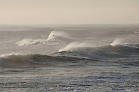 Storm waves with high winds