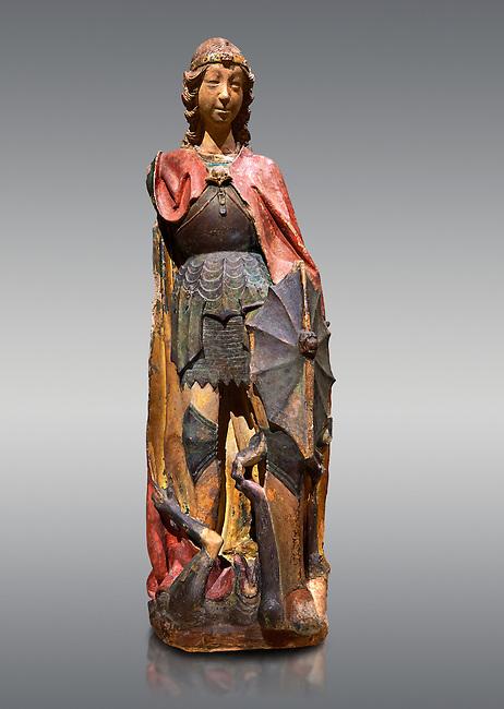 Gothic terracotta statue of the Archangel Gabriel attributed to Lorenzo Mercadante de Bretanya of Seville, circa 1460, from the convent of Santa Clara de Fregenal de la Sierra, Badajoz..  National Museum of Catalan Art, Barcelona, Spain, inv no: MNAC  4367.