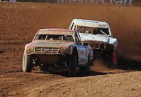 Apr 16, 2011; Surprise, AZ USA; LOORRS driver Rodrigo Ampudia (36) leads Corey Sisler (19) during round 3 at Speedworld Off Road Park. Mandatory Credit: Mark J. Rebilas-.