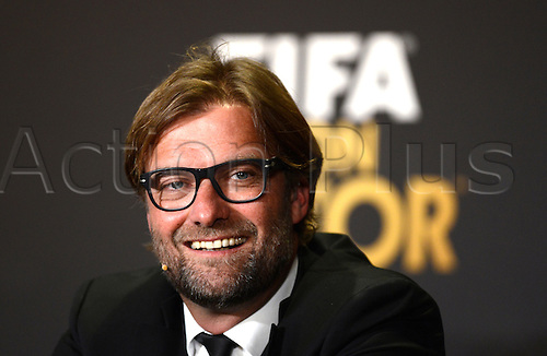 13.01.2014. Zurich, Switzerland.  Borussia Dortmund's head coach Juergen Klopp of Germany, nominee for the FIFA Men's World Coach of the Year Award, attends a press conference of the FIFA Ballon d'Or Gala 2013 held at the Kongresshaus in Zurich, Switzerland, 13 January 2014.