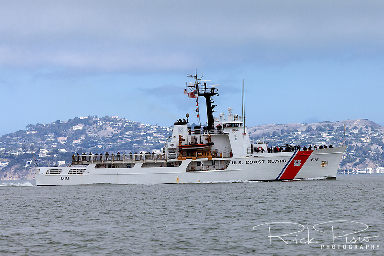 The United States Coast Guard Cutter Active (WMEC-618) enters San Francisco Bay in October, 2014. The Active is the seventh Coast Guard vessel to bear the name. She was launched at Sturgeon Bay, Wisconsin on July 31, 1965 and officially Commissioned as a Coast Guard Cutter on September 1, 1966.