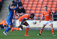 Blackpool's Armand Gnanduillet shields the ball from Rochdale's Zach Clough<br /> <br /> Photographer Stephen White/CameraSport<br /> <br /> The EFL Sky Bet League One - Blackpool v Rochdale - Saturday 6th October 2018 - Bloomfield Road - Blackpool<br /> <br /> World Copyright © 2018 CameraSport. All rights reserved. 43 Linden Ave. Countesthorpe. Leicester. England. LE8 5PG - Tel: +44 (0) 116 277 4147 - admin@camerasport.com - www.camerasport.com