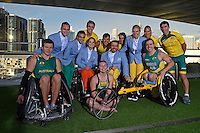 RM Williams Opening Ceremony outfit and 2XU sporting and casual gear team shot<br /> 2016 APC RIO Uniform Launch with the city of Sydney as the backdrop shot from the Star Casino<br /> Australian Paralympic Committee<br /> Star Casino / Sydney / NSW<br /> Monday 6 June 2016<br /> © Sport the library / Jeff Crow