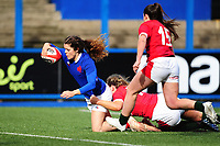 Cyrielle Banet of France scores her sides third try during the Women's Six Nations Championship Round 3 match between Wales and France at the Cardiff Arms Park in Cardiff, Wales, UK. Sunday 23 February 2020