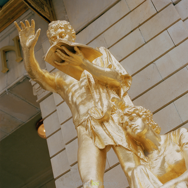 A statue outside the Royal Dramatic Theatre in Stockholm, Sweden