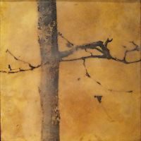 Mixed media encaustic photo painting of bare branch in yellow ochre sky with crow.