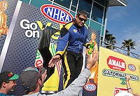 Mar. 17, 2013; Gainesville, FL, USA; NHRA top fuel dragster driver Sidnei Frigo during the Gatornationals at Auto-Plus Raceway at Gainesville. Mandatory Credit: Mark J. Rebilas-