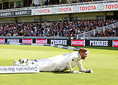 9th September 2017, Lords Cricket Ground, London, England; International test match series, third test, Day 3; England versus West Indies; England Wicket Keeper Jonny Bairstow smiles as he crashes through the boundary rope after attempting to stop a four