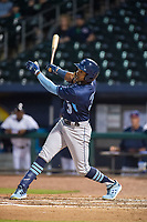 Corpus Christi Hooks outfielder Ronnie Dawson (3) connects on a pitch Wednesday, May 1, 2019, at Arvest Ballpark in Springdale, Arkansas. (Jason Ivester/Four Seam Images)