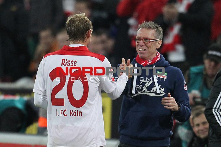 04.11.2013, RheinEnergieStadion, K&radic;&part;ln, GER, 2.FBL, 1. FC K&radic;&part;ln vs FC Union Berlin, im Bild<br /> Marcel Risse (Koeln #20) (li.) und Peter St&radic;&part;ger / Stoeger (Trainer Koeln)<br /> <br /> Foto &not;&copy; nph / Mueller *** Local Caption ***