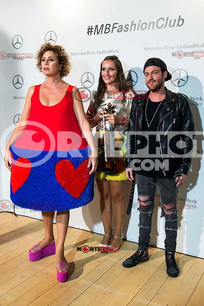 Spanish designer Agatha Ruiz de la Prada, violinist Elena Mikhailova and Dj Madison pose to the media at MBFWM16 in Madrid. September 16, Spain. 2016. (ALTERPHOTOS/BorjaB.Hojas) /NORTEPHOTO