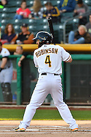 Shane Robinson (4) of the Salt Lake Bees at bat against the Sacramento River Cats in Pacific Coast League action at Smith's Ballpark on April 7, 2016 in Salt Lake City, Utah.  Salt Lake defeated Sacramento 5-2. (Stephen Smith/Four Seam Images)