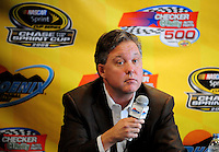 Nov. 9, 2008; Avondale, AZ, USA; Brian France the chairman and CEO of the NASCAR Sprint Cup Series discusses the economy and its effects on NASCAR during a press conference prior to the Checker Auto Parts 500 at Phoenix International Raceway. Mandatory Credit: Mark J. Rebilas-