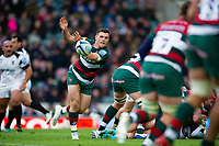 Ben White of Leicester Tigers passes the ball. Gallagher Premiership match, between Leicester Tigers and Bristol Bears on April 27, 2019 at Welford Road in Leicester, England. Photo by: Patrick Khachfe / JMP
