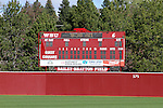 A view of the scoreboard at Bailey-Brayton Field, the baseball home of the Washington State Cougar baseball teams, on the campus of Washington State University in Pullman, Washington.