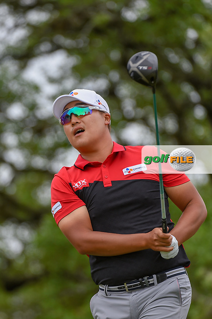 Kyoung-Hoon Lee (KOR) watches his tee shot on 2 during day 4 of the Valero Texas Open, at the TPC San Antonio Oaks Course, San Antonio, Texas, USA. 4/7/2019.<br /> Picture: Golffile | Ken Murray<br /> <br /> <br /> All photo usage must carry mandatory copyright credit (© Golffile | Ken Murray)