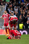 Joshua Kimmich and Javi Martinezof FC Bayern Munich reacts after the UEFA Champions League Semi-final 2nd leg match between Real Madrid and Bayern Munich at the Estadio Santiago Bernabeu on May 01 2018 in Madrid, Spain. Photo by Diego Souto / Power Sport Images