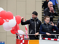 Lincoln City manager Danny Cowley gives the thumbs up to fans from an open top bus through Lincoln's High Street as his side celebrate winning the EFL Sky Bet League Two<br /> <br /> Photographer Chris Vaughan/CameraSport<br /> <br /> The EFL Sky Bet League Two - Lincoln City - Champions Parade - Sunday 5th May 2019 - Lincoln<br /> <br /> World Copyright © 2019 CameraSport. All rights reserved. 43 Linden Ave. Countesthorpe. Leicester. England. LE8 5PG - Tel: +44 (0) 116 277 4147 - admin@camerasport.com - www.camerasport.com