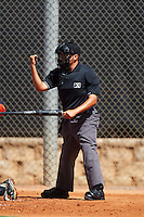 Umpire Josh Gilreath during the first game of a doubleheader between the GCL Mets and GCL Astros on August 5, 2016 at Osceola County Stadium Complex in Kissimmee, Florida.  GCL Astros defeated the GCL Mets 4-1 in the continuation of a game started on July 21st and postponed due to inclement weather.  (Mike Janes/Four Seam Images)