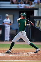 Siena Saints first baseman Evan St. Claire (8) follows through on a swing during a game against the UCF Knights on February 17, 2019 at John Euliano Park in Orlando, Florida.  UCF defeated Siena 7-1.  (Mike Janes/Four Seam Images)
