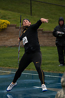 Mizzou senior Reinhard Van Zyl prepates to toss the javelin enroute to victory at the Drake Relays, Friday, April 28. Van Zyl posted a best toss of 66.57 meters/218-5 in the rain at the 108th edition of the Drake Relays in Des Moines, Iowa.