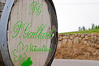 Sign on an old barrel welcoming visitors to Pierre Gaillard Winery, viticulteur.  Domaine Pierre Gaillard, Malleval, Ardeche, Ardeche, France, Europe