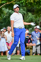 Jason Day (AUS) watches his tee shot on 11 during Saturday's round 3 of the PGA Championship at the Quail Hollow Club in Charlotte, North Carolina. 8/12/2017.<br /> Picture: Golffile | Ken Murray<br /> <br /> <br /> All photo usage must carry mandatory copyright credit (&copy; Golffile | Ken Murray)