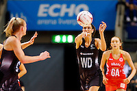 10.02.2017 Silver Ferns Anna Harrison in action during the Silver Ferns v England Roses Vitality Netball International Series test match played at the Echo Arena in Liverpool. Mandatory Photo Credit © Paul Greenwood/Michael Bradley Photography.