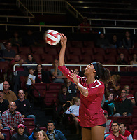 STANFORD, CA - November 3, 2018: Courtney Bowen at Maples Pavilion. No. 1 Stanford Cardinal defeated No. 15 Colorado Buffaloes 3-2.