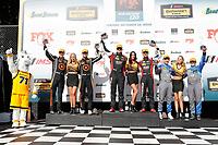 #82 BimmerWorld Racing, BMW M4 GT4, GS: James Clay, Tyler Cooke, #76 Compass Racing, McLaren GT4, GS: Matt Plumb, Paul Holton, #57 Winward Racing / HTP Motorsport, Mercedes-AMG, GS: Bryce Ward, Indy Dontje celebrate on the podium