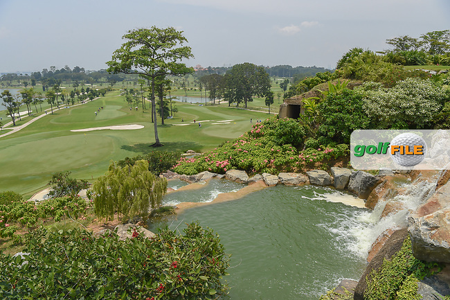 A wide view of the greens on 3, left, and 7 from the elevated waterfall on the tee on 4 during Rd 2 of the Asia-Pacific Amateur Championship, Sentosa Golf Club, Singapore. 10/5/2018.<br /> Picture: Golffile   Ken Murray<br /> <br /> <br /> All photo usage must carry mandatory copyright credit (© Golffile   Ken Murray)