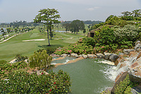 A wide view of the greens on 3, left, and 7 from the elevated waterfall on the tee on 4 during Rd 2 of the Asia-Pacific Amateur Championship, Sentosa Golf Club, Singapore. 10/5/2018.<br /> Picture: Golffile | Ken Murray<br /> <br /> <br /> All photo usage must carry mandatory copyright credit (© Golffile | Ken Murray)