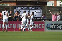 Angelo Balanta of Borehamwood scores and celebrates  during Boreham Wood vs Dagenham & Redbridge, Vanarama National League Football at Meadow Park on 4th August 2018