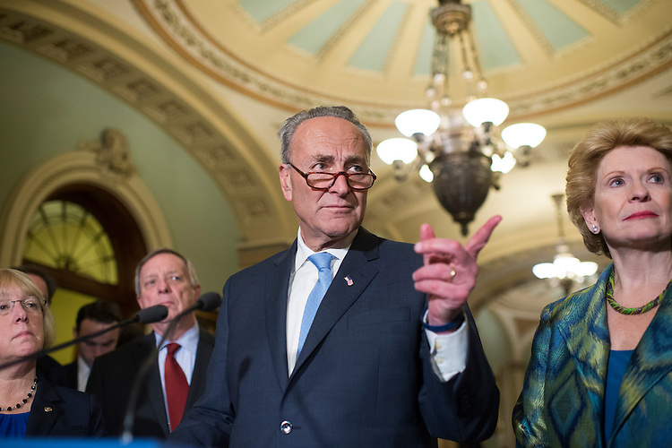 UNITED STATES - FEBRUARY 28: Senate Minority Leader Charles Schumer, D-N.Y., conducts a news conference after the Senate Policy luncheons in the Capitol, February 28, 2017. Sen. Patty Murray, D-Wash., left, Debbie Stabenow, D-Mich., and Sen. Richard Durbin, D-Ill.(Photo By Tom Williams/CQ Roll Call)