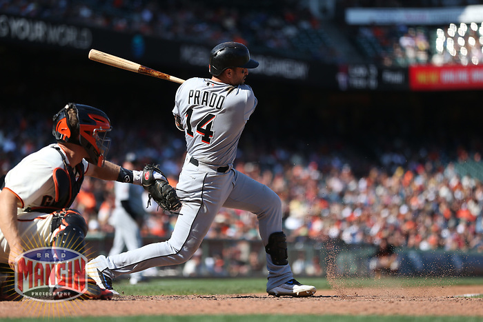 SAN FRANCISCO, CA - JULY 9:  Martin Prado #14 of the Miami Marlins bats against the San Francisco Giants during the game at AT&T Park on Sunday, July 9, 2017 in San Francisco, California. (Photo by Brad Mangin)