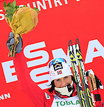 Marit Bjoergen competes during the FIS Ski World Cup 1.3 Km Sprint Free Qualification, on February 2, 2014 in Dobbiaco, Toblach. <br />