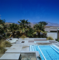 The stunning blue skies of Palm Springs are reflected in the clear turquoise waters of the outdoor lap pool
