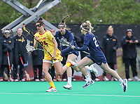 College Park, MD - April 19, 2018: Maryland Terrapins Julia Braig (24) runs with the ball during game between Penn St. and Maryland at  Field Hockey and Lacrosse Complex in College Park, MD.  (Photo by Elliott Brown/Media Images International)