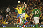 29 May 2008: Roberto Polo (COL) (11) and Paul McShane (IRL) (right) challenge for the ball. The Republic of Ireland Men's National Team defeated the Colombia Men's National Team 1-0 at Craven Cottage in London, England in an international friendly soccer match.