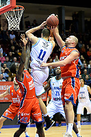 GRONINGEN -  Basketbal, Donar - New Heroes Den Bosch, Martiniplaza, Dutch Basketbal League, seizoen 2018-2019,  26-01-2019, Donar speler Shane Hammink in duel met Den Bosch speler Nick Oudendag