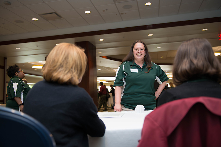 Angela Woodward,  a writer and editor for UCM at the Campus Communicator Network Expo in Nelson Commons on Wednesday, May 11, 2016. © Ohio University / Photo by Kaitlin Owens